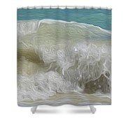 Waves Shower Curtain by Cheryl Young