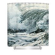Waves In Stormy Ocean Shower Curtain by Elena Elisseeva