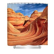 Wavy Bowl Shower Curtain by Inge Johnsson
