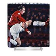 Wayne Rooney Shower Curtain by Paul Meijering