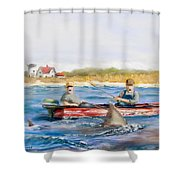 We Need A Biggah Boat Shower Curtain by Jack Skinner