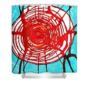 Web Of Life Original Painting Shower Curtain by Sol Luckman