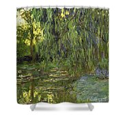 Weeping Willows The Waterlily Pond at Giverny Shower Curtain by Claude Monet