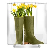 Wellington Boots Shower Curtain by Amanda And Christopher Elwell