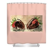 We're Great Together Valentine Shower Curtain by Angela Davies