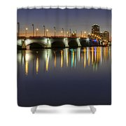West Palm Beach At Night Shower Curtain by Debra and Dave Vanderlaan