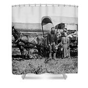 Westward Family In Covered Wagon C. 1886 Shower Curtain by Daniel Hagerman