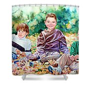 What Leaf Fight Shower Curtain by Hanne Lore Koehler
