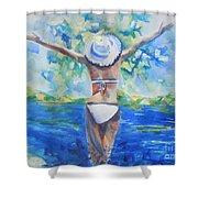 What Lies Ahead Series Forgive Shower Curtain by Chrisann Ellis