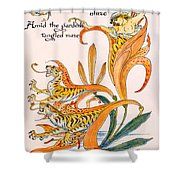 When Lilies Turned To Tiger Blaze Shower Curtain by Walter Crane