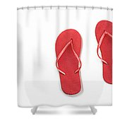 Where On Earth Is Spring - My Red Flip Flops Are Waiting Shower Curtain by Andee Design
