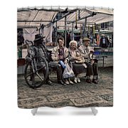 Which One Is The Statue Shower Curtain by Doc Braham