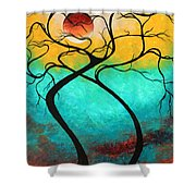 Whimsical Abstract Tree Landscape With Moon Twisting Love IIi By Megan Duncanson Shower Curtain by Megan Duncanson