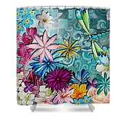 Whimsical Floral Flowers Dragonfly Art Colorful Uplifting Painting By Megan Duncanson Shower Curtain by Megan Duncanson