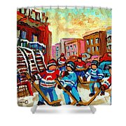 Whimsical Hockey Art Snow Day In Montreal Winter Urban Landscape City Scene Painting Carole Spandau Shower Curtain by Carole Spandau
