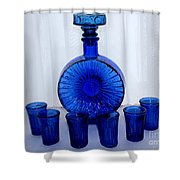 Whiskey Decanter And Shot Glasses Shower Curtain by Barbara Griffin