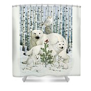 White Animals Red Bird Shower Curtain by Lynn Bywaters