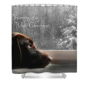 White Christmas Shower Curtain by Lori Deiter