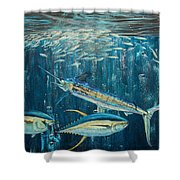 White Marlin original oil painting 24x36in on canvas Shower Curtain by Manuel Lopez