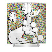 White Poodle Shower Curtain by Eloise Schneider