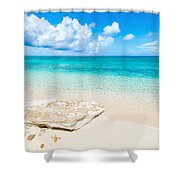White Sand Shower Curtain by Chad Dutson
