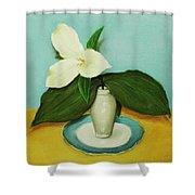 White Trillium Shower Curtain by Anastasiya Malakhova