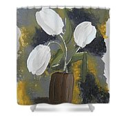 White Tulips Shower Curtain by Leana De Villiers