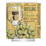 White Wine Text Shower Curtain by Debbie DeWitt