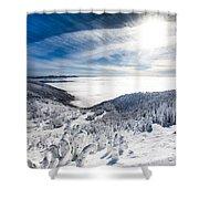 Whitefish Inversion Shower Curtain by Aaron Aldrich