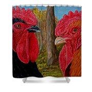 Who You Calling Chicken Shower Curtain by Karen Ilari
