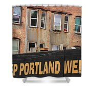 Weird And Wonderful Portland Shower Curtain by Kris Hiemstra