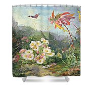 Wild Flowers And Butterfly Shower Curtain by Jean Marie Reignier