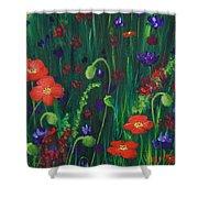 Wild Poppies Shower Curtain by Anastasiya Malakhova
