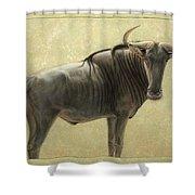 Wildebeest Shower Curtain by James W Johnson