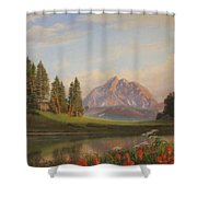 Wildflowers Mountains River Western Original Western Landscape Oil Painting Shower Curtain by Walt Curlee