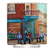 Wilensky Montreal-fairmount And Clark-montreal City Scene Painting Shower Curtain by Carole Spandau