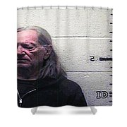 Willie Nelson Mugshot Shower Curtain by Bill Cannon