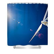 Wind Turbine And Sun  Shower Curtain by Johan Swanepoel