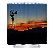 Windmill Silhouette Shower Curtain by Robert Bales