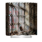 Window Decay Shower Curtain by Adrian Evans