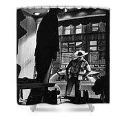 Window Shopping Cowboy Shower Curtain by Photo Researchers