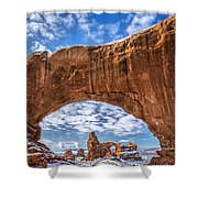 Window Through Time Shower Curtain by Dustin  LeFevre