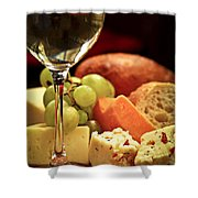 Wine And Cheese Shower Curtain by Elena Elisseeva