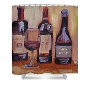 Wine Bottle Trio Shower Curtain by Donna Tuten