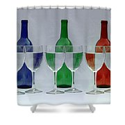 Wine Bottles and Glasses Illusion Shower Curtain by Jack Schultz