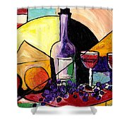 Wine Fruit And Cheese For Two Shower Curtain by Everett Spruill