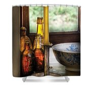 Wine - Nestled In A Corner Of A Window Sill  Shower Curtain by Mike Savad
