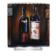 Wine Trio Shower Curtain by Danise Abbott