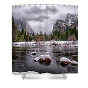 Winter At Valley View Shower Curtain by Cat Connor