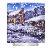 Winter Creek Shower Curtain by Mo T